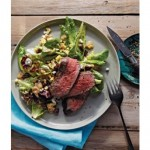 Grilled Bison Flank Steak with Grilled Corn, Greens, and Roasted Shallot Vinaigrette from Chef Eric Stenberg