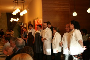 The chefs greet the guests.