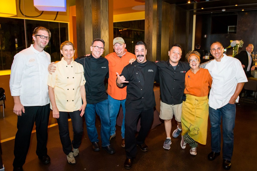 Meet the chefs behind Trash Fish Las Vegas! Several Chefs Collab founding members in the mix. From L to R: Tim Doolittle of Table Ten Las Vegas, Chef Mary Sue Milliken of Border Grill, Chef Rick Moonen of Rick Moonen's RM Seafood, Michael Passmore of Passmore Ranch, Mike Minor of Border Grill Las Vegas, Susan Feniger of Border Grill and Susan Feniger's STREET, Chef Jet Tila of Kuma Snow Cream & The Charleston, and Michael Leviton of lumiere the restaurant and Area Four (and Chefs Collab board chair!) Photo Credit: Big Tom Photography