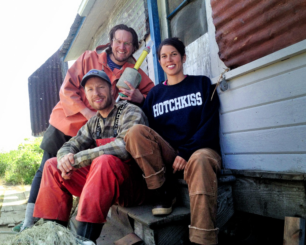 Bristol Bay fishermen sporting a Hotchkiss School tshirt. (Photo credit A + C Images)