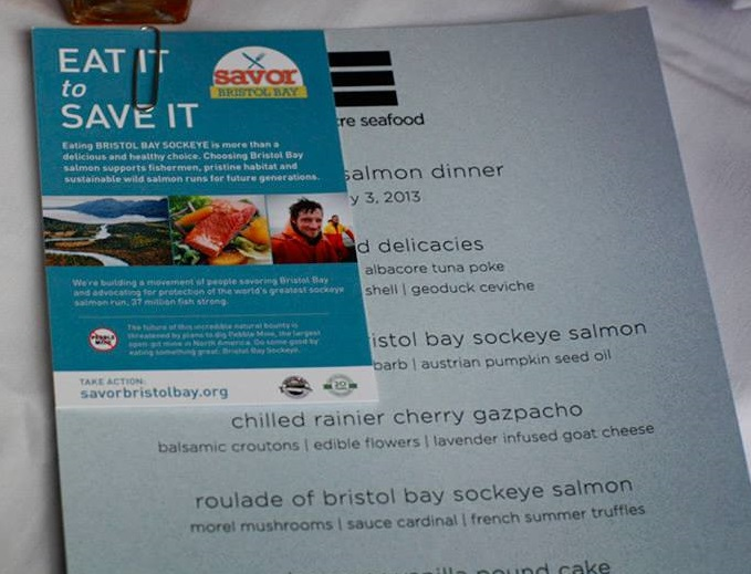 The menu and Bristol Bay tablecards at Blueacre Seafood in Seattle, WA