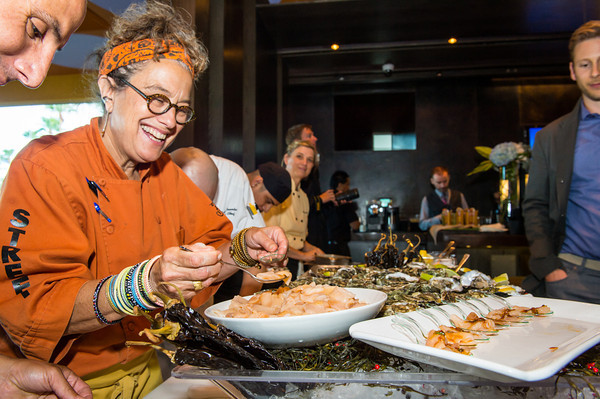 Chef Susan Feniger plates Trash Fish appetizers. Photo: Big Tom Photography