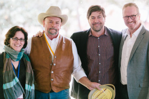 L to R: Melissa Kogut, Will Harris (2013 Foodshed Champion, White Oak Pastures), Mike Lata (chef/owner, FIG/The Ordinary), and Michel Nischan (Wholesome Wave). Photo: Carolina Photosmith
